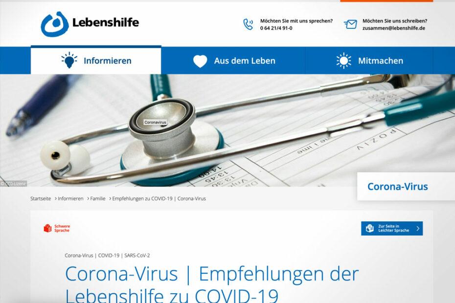 Screenshot der Internetseite der Lebenshilfe Deutschland