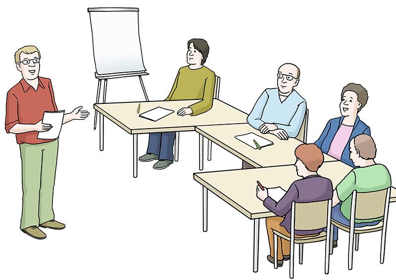 Die Zeichnung zeigt Teilnehmer bei einem Vortrag in einem Kurs